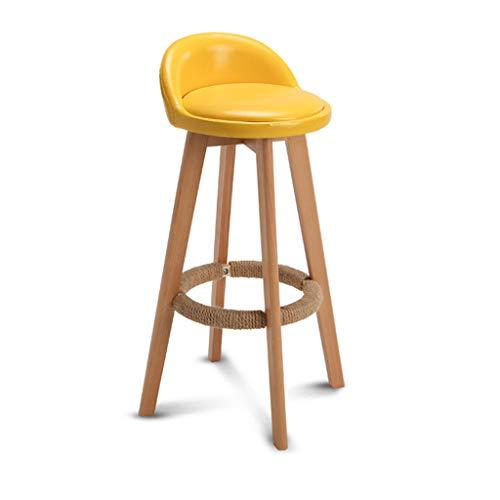 Barhocker Taburete de bar de madera maciza amarilla Sillas Taburetes en el hogar y la cocina Madera Estilo minimalista moderno Altura de asiento 63 cm, 73 cm, 78 cm Aceite de cera Cojín de cuero