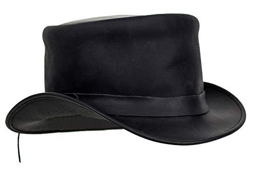 Black Leather Deadman Top Man Hat