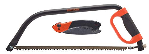 Black+Decker - Sierra de podar y poda Plegable (53 cm, Arco de 19 cm), Color Negro y Naranja