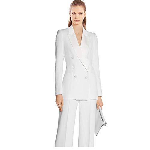 2 Piece Women(Jacket+Pants) Pantsuits Ladies Business Suits Female Tuxedo Custom Made White
