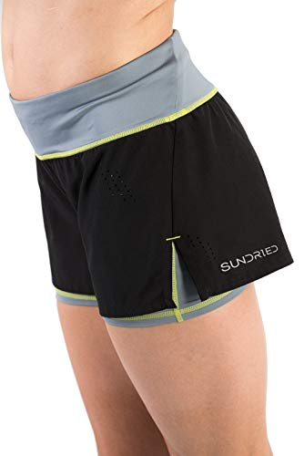 Sundried Frauen-Gym Shorts Jogging Fitness und Training 2-in-1 Schwarz Kurz Shorts (X-Large)