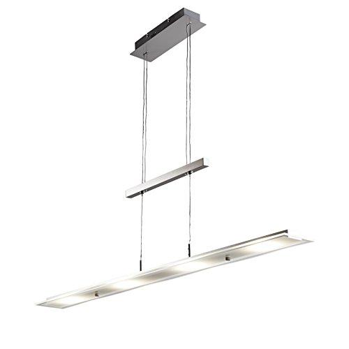 Lámpara de techo colgante LED 18W I metal I cristal auténtico I regulable en altura I Color níquel mate I IP20 I luz incluido platina 1600lm 3000K