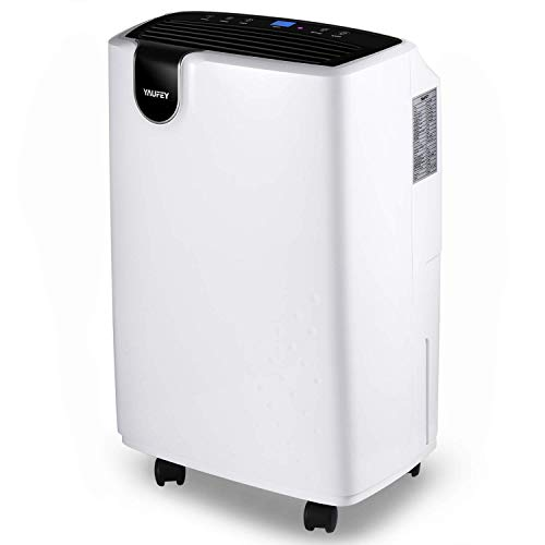 Yaufey 30 Pint Dehumidifier for Home Basements Bedroom Garage, 4 Gallons/Day Working Capacity, with 0.47 Gallon Water Tank, Continuous Drain Hose and Wheel Spaces up to 1500 Sq Ft (Renewed)
