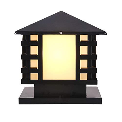 Casetta Impermeabile Lampada A Colonna Da Esterno, in Acciaio Inox in Acciaio Inox Giapponese in Acciaio Inox Giardino Patio Patio Pilar Lampada Lanterna Lampada Al Di Fuori Della Lampada,Nero