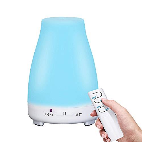 Vernieuwde luchtbevochtiger met afstandsbediening, ultrasone geurverspreider met Cool Mist aromatherapie zonder filter, stille automatische uitschakeling, koude stoom 200ml