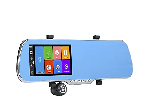 zhiping Espejo retrovisor 5.0' IPS Touch Android 4.4 ROM 16GB FHD1080P Dash Camera Aparcamiento Coche DVRS Retrovisor Espejo Video Recorder Coche DVR Cámara Doble GPS con 1 6GB TF Tarjeta-