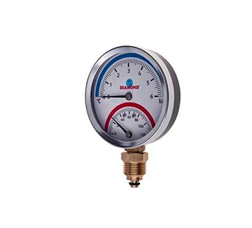 Termómetro de 80 mm, medidor de temperatura y presión, entrada lateral 1/2BSP.