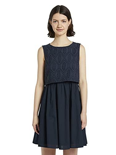 TOM TAILOR Denim Damen Schiffli Mix Kleid, 10360-Real Navy Blue, M