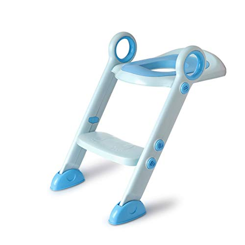 NYKK Toilet Training/Potty Training Toilet Folding Child Toilet Urinal Back Training Chair Step Stool Pedal Baby Child Safety Bathroom Urinal Travel Potty (Color : Blue)