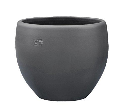 Hentschke Keramik Pflanztopf/Pflanzkübel frostsicher Ø 38 x 32 cm, Anthrazit, 124.038.70 Blumenkübel für Draußen + Innen - Made in Germany