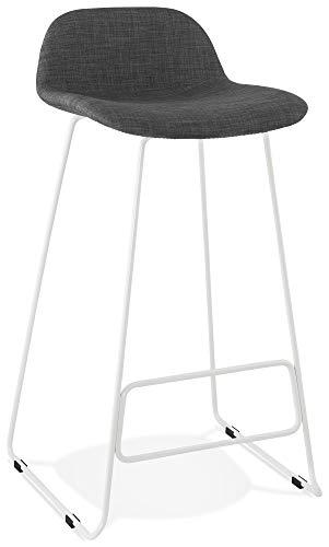 Taburete de bar Steel en tejido gris diseño con patas de metal blanco