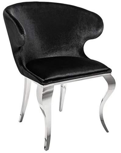 Casa Padrino Silla de Comedor de diseño Plateada/Negra 61 x 60 x H.79 cm - Muebles de Comedor