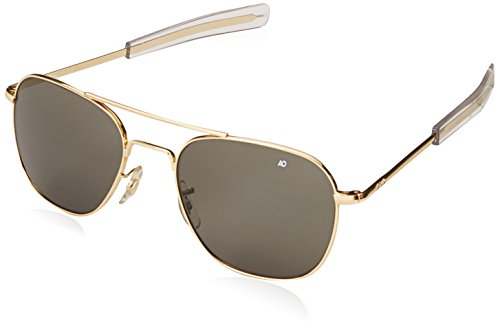 AO Eyewear Original Pilot 55mm Gold Frame with Bayonet Temples and True Color Grey Glass Lenses...