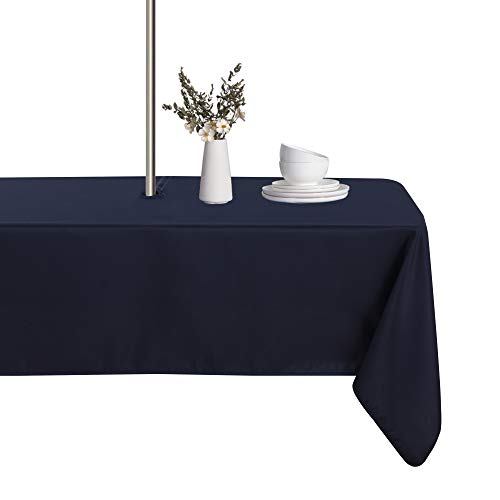 LUSHVIDA Outdoor and Indoor Tablecloth - Washable Waterproof Wrinkle Free Table Cloth with Zipper and Umbrella Hole for Spring/ Summer/ Party/ Picnic/ BBQS/ Patio (Rectangle 60x84 inch, Navy)