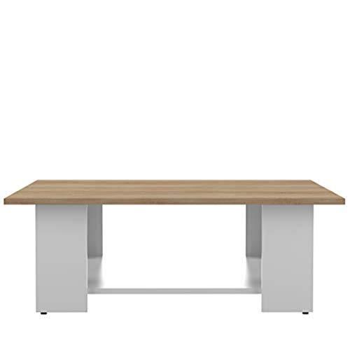 TemaHome Table Base Square, Panneaux de Particules Mélaminés, Blanc et Chêne, 89 x 89 x 30,5 cm