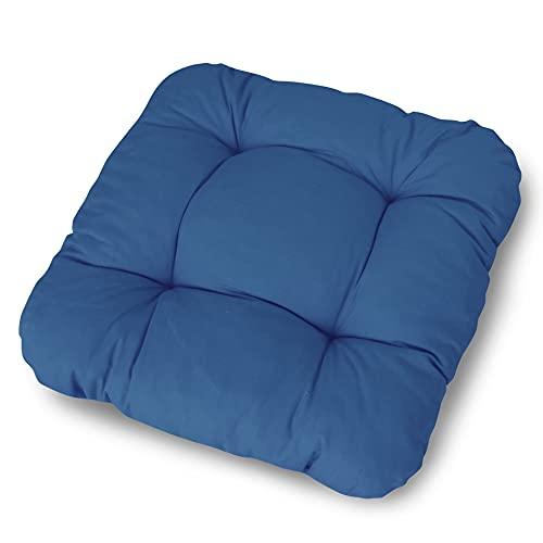 LILENO HOME 2er Set Stuhlkissen Dunkelblau (38x38x8 cm) - Sitzkissen für Gartenstuhl, Küche oder Esszimmerstuhl - Bequeme UV-beständige Indoor u. Outdoor Stuhlauflage als Stuhl Kissen