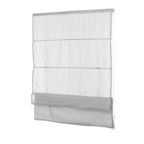 Ventanara Fenster Raffrollo tageslicht Raffgardine Faltvorhang Montage ohne Bohren inklusive Klemmträger (90 x 130 cm, grau Blickdicht)