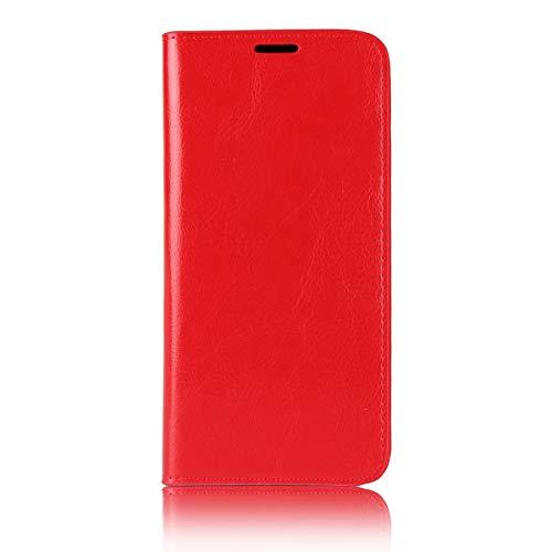 Sunrive Für Motorola Moto E5 Plus, Echt-Ledertasche Schutzhülle Hülle Standfunktion Flip Lederhülle Hülle Handyhülle Schalen Kreditkarte Handy Tasche(rot)