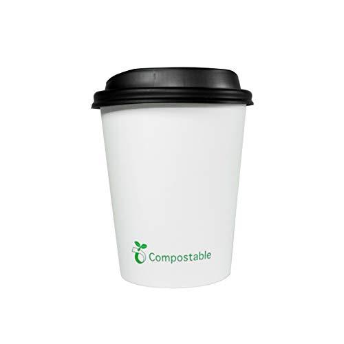 Ecorigin Vasos Desechables con Tapa biodegradables (200, 8oz/250 ml)