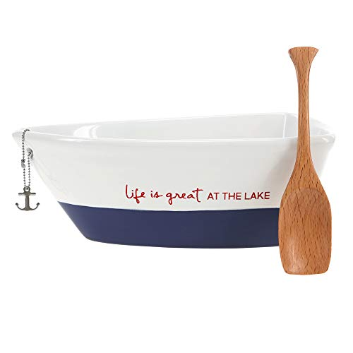 Pavilion Gift Company 12 Oz Stoneware Boat Dish Server With Wooden Oar Scoop Life Is At The Lake, Blue