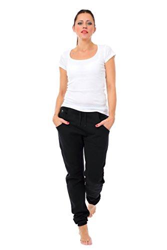 Jogginghose Damen locker lässig/Freizeithose Frauen schwarz/Boyfriend Baggy Style Hose mit Kleiner Elfe von 3 Elfen - Sporthose - grau L