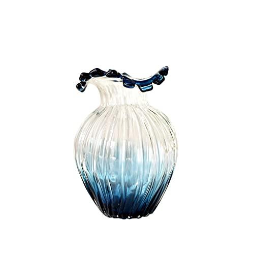 ZWMG Florero para Flores Blue Gradient Vidrio Jarrón Inicio Sala de Estar Café Mesa Oficina Decoración de Escritorio Decoración Transparente Jarrón Hidropónico 9.05 Pulgadas