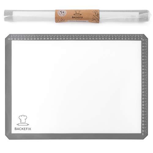Backefix Silikon Backmatte Teigunterlage Backunterlage Wiederverwendbare Dauerbackfolie – in 3 Größen erhältlich Zero Waste (44cm)