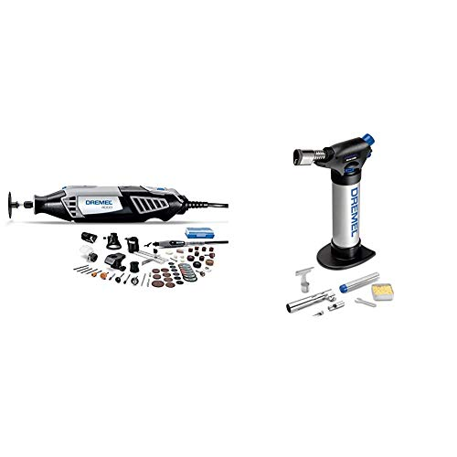 Dremel 4000-6/50-FF High Performance Rotary Tool Kit with Flex Shaft- 6 Attachments & 50 Accessories- Grinder, Sander, Polisher, Engraver & 2200-01 Versa Flame Multi-Function Butane Torch