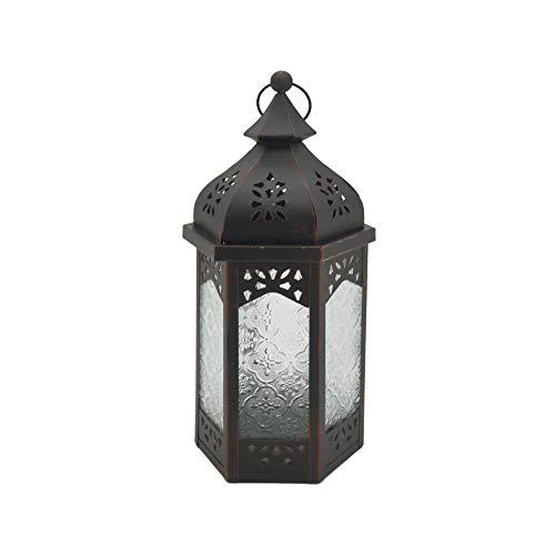 Rebecca Mobili Lanterna Da Tavolo, Porta Candele Nero, Vetro Metallo, Per Feste Arredo Casa - Misure: 32 x 16 x 14 (HxLxP) - Art. RE6560