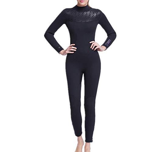 Damen Neoprenanzug Damen 5mm Neoprenanzug 1 Stück Schwimmen Neopren voller Neoprenanzug Langarm UV-Schutz zum Surfen Kajak Sport Zum Schwimmen Und Anderen Wassersportarten (Farbe : Black, Size : M)