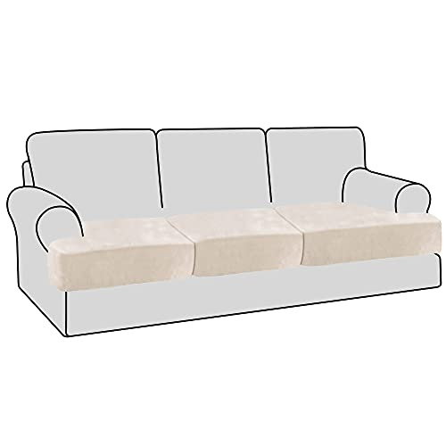 H.VERSAILTEX Stretch Velvet 3 Piece T Cushion Sofa Slipcovers Individually Sofa Cushion Covers for 3 Cushion Couch Seat Cushion Covers for Sofa Seat Cushion Covers Stay with Elastic Bands, Ivory