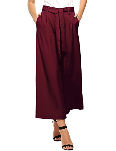 ZEAGOO  Damen Sommerhose lang weite Hose gestreifte Hose Palazzo mit Eingrifftaschen Schlabberhose, Weinrot - L