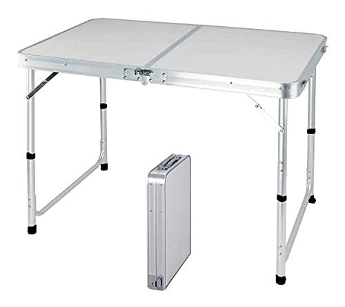 DMKD Mesa plegable de aluminio portátil de 120 cm para fiestas, jardín, barbacoa, mesa de camping, 3 engranajes, altura ajustable, mesa plegable de aluminio ligera para cocinar al aire libre, color