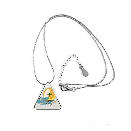 DIYthinker Hong Kong Udon Nudeln China Triangle Form Anhänger Halskette Schmuck mit Kette Dekoration Geschenk