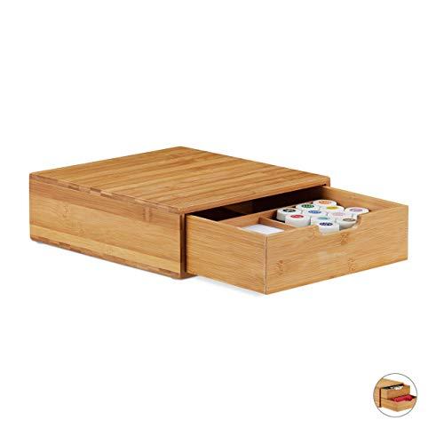 Relaxdays, Natur Schubladenbox Bambus, Schubladen Organizer, natürliche Optik, Tischorganizer Büro, HBT 10 x 29,5 x 30cm, 1 Fach