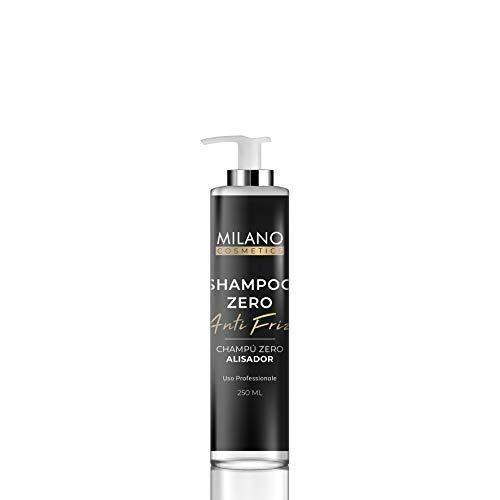 Milano Champú Zero Alisador 250 ml El shampoo profesional sin sulfatos ni parabenos para alisar el cabello (anti-frizz). Suaviza con BioKeratin vegetal, queratina de origen totalmente vegetal.