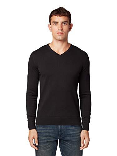 TOM TAILOR Herren Basic V-Neck Pullover, Schwarz (Black 29999), M