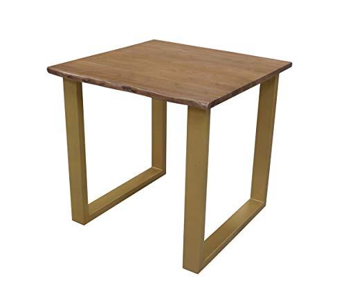 Sit meubels tafels & banken tafel 80 x 80 cm, frame messingkleurig, plaat notenboomkleurig plaat acacia, frame staal L = 80 x B = 80 x H = 76 cm plaat walnootkleurig, frame messingkleurig
