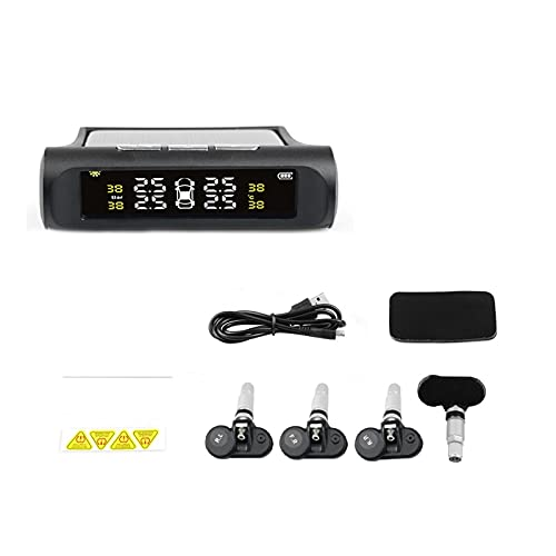 ZIMEI MEIKAI Energía Solar TPMS USB Sistema De Monitoreo De Presión De Neumáticos De Coche LCD 4 Sensores Externos/Internos para SUV Advertencia De Temperatura (Type : Internal sensors)
