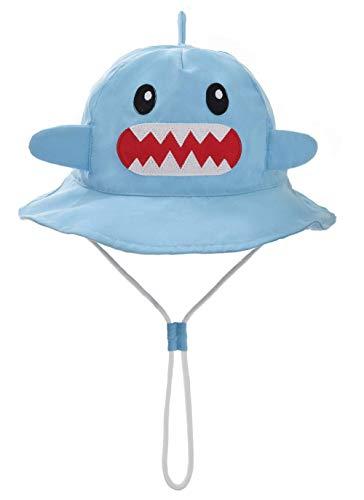 Foruhoo Baby Sonnenhut Kinder Hut, Sommerhut Mütze for Jungen Mädchen mit Verstellbar Kordelzug (54cm / 4-8 Jahre,Hai)