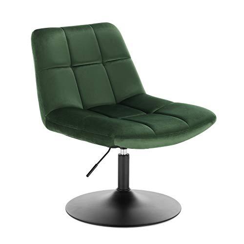 WOLTU® BH195gn-1 1x Barsessel Loungesessel, stufenlose Höhenverstellung, verchromter Stahl, gut gepolsterte Sitzfläche aus Samt, Grün
