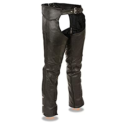 Milwaukee Leather ML1135 Men's Black Braided Leather Motorcycle Chaps - Large from Milwaukee