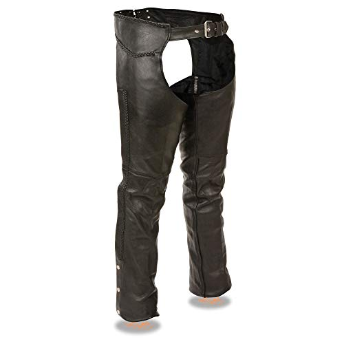 Milwaukee Leather ML1135 Men's Black Braided Leather Motorcycle Chaps - Large