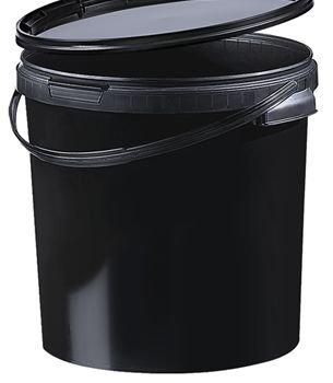 Kunststoff Eimer schwarz/black 21,1 ltr. mit Deckel (10 Stück)