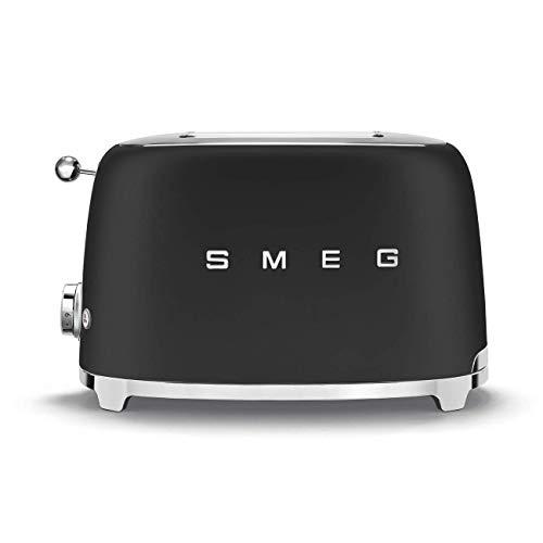 Smeg Retro 50's Style, 2 Slice Toaster, Self Centering, Multifunction, Matte Black