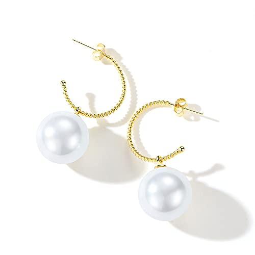 WPJ Pendientes de Perlas de Plata esterlina Pendientes de Perlas de la Vendimia Pendientes de Las señoras Pendientes de Perla Stud Pendientes, Regalo para Las Mujeres, Señoras