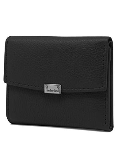 Timberland womens Leather RFID Small Indexer Snap Wallet Billfold, Black, One Size US