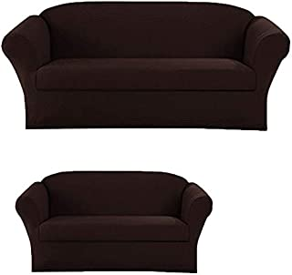 Elegant Home Stretch to Fit 3 Piece or 2 Piece or 1 Piece for Sofa Loveseat & Arm Chair Slipcover Furniture Protector # Stella (2 Piece Sofa &Love Seat Cover (2PC), Coffee/Brown)