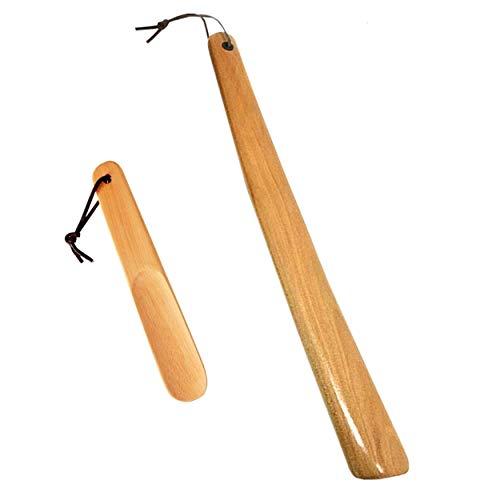 Milai Calzador 2pc 40cm&16cm Calzador con cuerda colgante,Madera Shoe Horn Calzador Wood Shoe Horn mango largo zapato cuerno zapato elevador para Hombres Mujeres Niños(madera fuerte)