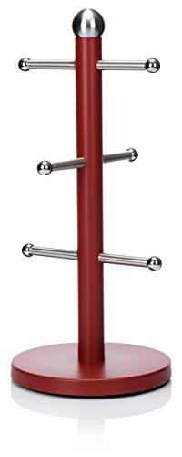 com-four Soporte de Tazas de Acero Inoxidable - Taza de árbol en Rojo - Elegante portavasos para la Cocina - 34 cm (01 Pieza - 34cm - Rojo)